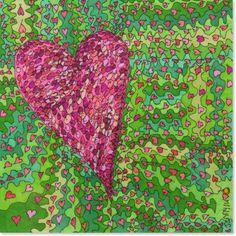 Passionate Heart Giclee Art Print Original Art Heart by JennyLU, $40.00