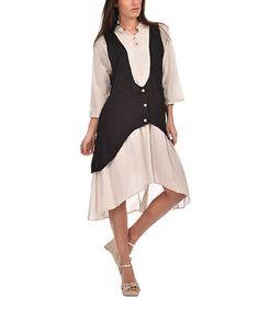 Loving this Black Tie-Back Layered Dress on #zulily! #zulilyfinds