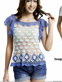 Crochetemoda: Blusa de Crochet Azul e Branca crochet shirt