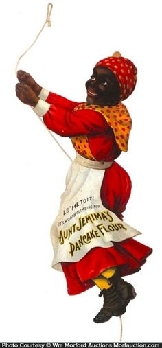 Aunt Jemima Die-Cut – Aunt Jemima Pancake Flour  Outstanding, early embossed die-cut cardboard litho advertising string climber sign for Aunt Jemima Pancake Flour, w/ nice semi-shiny surface finish.