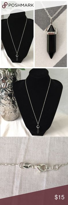 "Solid Black Crystal Bullet Necklace Beautiful and trendy bullet necklace! Pendants come on a slender 20"" silver plated chain with lobster clasp! Pendants measure 1 1/2"" tall (the stone is about 1 1/4"") Jewelry Necklaces"