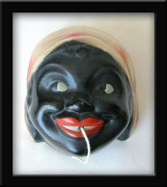 Vintage 1940's Polka Dot Mammy String Holder ~ Ceramic, not Chalk!