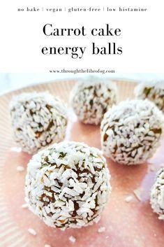 Carrot cake energy balls – Throughthefibrofog Dairy Free Recipes, Vegan Gluten Free, Whole Food Recipes, Snack Recipes, Organic Pumpkin Seeds, Healthy Snacks, Healthy Recipes, No Bake Snacks, On The Go Snacks