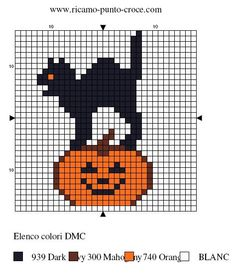 halloween - citrouille - chat - point de croix - cross stitch - Blog : http://broderiemimie44.canalblog.com/