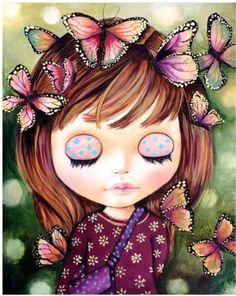 Art & Butterfly ~ by Claudia Tremblay Art And Illustration, Claudia Tremblay, Art Fantaisiste, Art Visage, Art Mignon, Mosaic Wall Art, Doll Painting, Iris Painting, 5d Diamond Painting