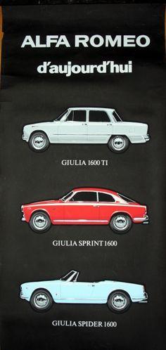 Alfa Romeo Today, 1960s - original vintage display poster listed on AntikBar.co.uk