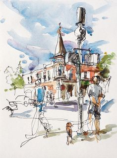 An afternoon of sketching in Los Gatos Watercolor Sketchbook, Watercolor Projects, Watercolor Trees, Art Sketchbook, Watercolor And Ink, Abstract Pencil Drawings, Watercolor Architecture, Ink In Water, Sketches Of People