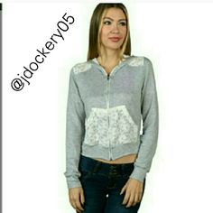 SALE! Grey hoodie with crochet pockets shoulders Brand new from vendor 70% Rayon, 26% Polyester, 4% Spandex Fits true to size Please don't buy from this listing. Comment your size and I will make you a new one. Thanks! :) Price firm unless bundled. Tops Sweatshirts & Hoodies