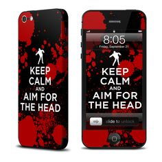Zombies? Keep calm and aim for the head.    ~Featuring http://www.istyles.com/skins/phones/apple-iphone/iphone-5/zombie-iphone-5-skin-p-124015.html
