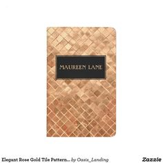 Elegant Rose Gold Tile Pattern Custom Journal - An elegant modern rose gold metallic-look tile pattern with black monogram frame inset and custom name that you may edit with your name or other text. Other matching office products are available in this design. Sold at Oasis_Landing on Zazzle.
