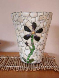 Shellshocked mosaic pots - New Zealand paua jewellery, paua necklaces, paua bracelets, shell jewellery and mosaic pots Mosaic Planters, Mosaic Vase, Mosaic Flower Pots, Mosaic Tiles, Mosaics, Glass Planter, Flower Pot Crafts, Pot Jardin, Mosaic Madness