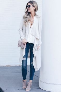 fall-transition-outfits-draped-thermal-cardigan-over-lace-up-cami-on-pinterestingplans
