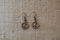 Peace Sign Earrings, Copper Earrings, Copper Peace Sign, Peace, Love, Hippie Earrings, Hippie, Simple Earrings, Free Shipping, Love, Reiki by HealingEarthReiki on Etsy