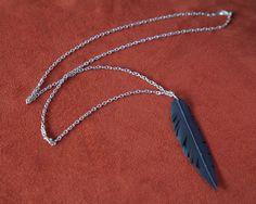 Single Vegan Feather Bicycle Tube Necklace. $26.00, via Etsy.