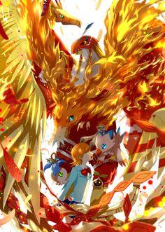 Biyomon-Birdramon-Garudamon-Phoenixmon by winni @Pixiv.net | Digivolution, Sora Takenouchi, Nyokimon-Pyokomon