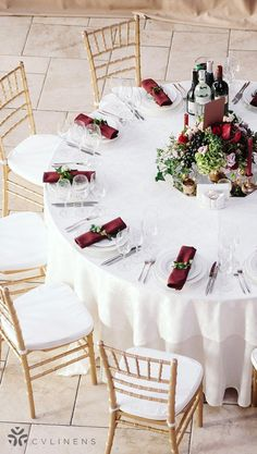 Wedding Themes Outdoor burgundy and white classic wedding reception table with gold accents Wedding Reception Tables, Wedding Table Centerpieces, Diy Wedding Decorations, Wedding Themes, Wedding Ideas, Reception Ideas, Centerpiece Ideas, Wedding Inspiration, Wedding Venues