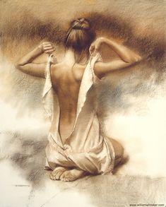 """Teddy"" - William Whitaker (b. 1943), pastel {figurative female human body woman posterior back drawing}"