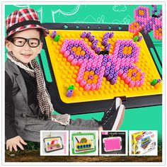 430 Pieces/set Mushroom Nail Beads Storage Box Learning Education  3D Puzzle Games Birthday  Gift Toys for Children