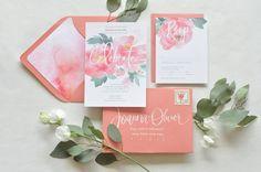 Invitación de boda en acuarela con caligrafia