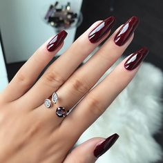 "Love this color! ""Burgundy nails ✨ @essiepolish in Bordeaux #nails #burgundynails #realnails #notd #winternails"""