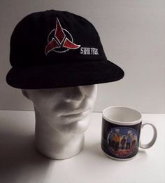 1996 Star Trek Baseball Cap/Hat & Beam Us Down Scotty Coffee Mug Enterprise Lot