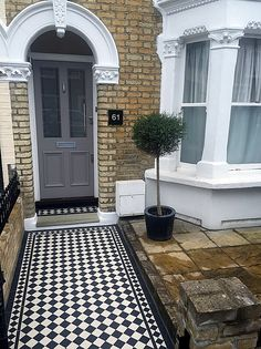 victorian front garden design london - All About Victorian Front Garden, Victorian Front Doors, Victorian Terrace, Victorian Homes, Garden Design London, London Garden, Victorian Mosaic Tile, Terrace Tiles, Front Path