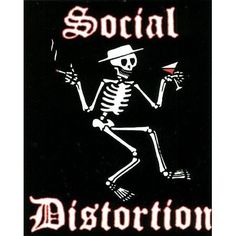 Social Distortion Skeleton by C Visionary. $1.74. Sticker features skeleton wearing a hat holding a cigarette in one hand and a martini in the other.