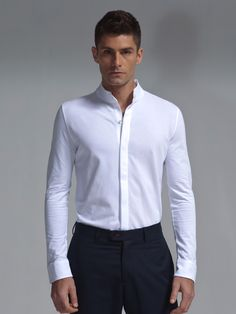 Classic white cotton pique shirt