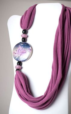 upcycled light lavender and black tshirt necklace by six20tees, $22.00
