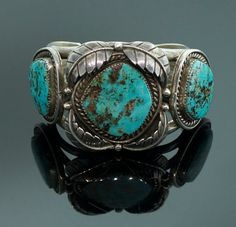 Vintage Navajo Sterling Silver and Turquoise Cuff