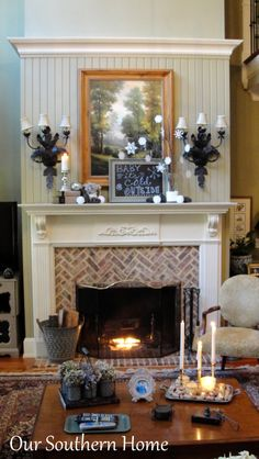 Creating A Cozy Winter Mantel from Our Southern Home #winterdecor #winterdecorating #wintermantel