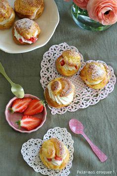 Choux à la crème et aux fraises .....