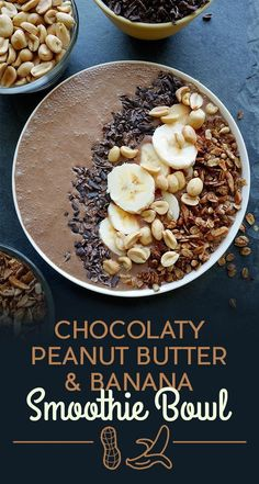 Breakfast Smoothie Bowls That Will Make You Feel Amazing Chocolaty Peanut Butter and Banana Smoothie Bowl, Delicious Recipe!Chocolaty Peanut Butter and Banana Smoothie Bowl, Delicious Recipe! Breakfast Desayunos, Breakfast Smoothies, Healthy Smoothies, Healthy Drinks, Healthy Snacks, Breakfast Recipes, Healthy Recipes, Breakfast Ideas, Smoothie Bowls Vegan