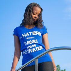 To Haters With Love Distressed Royal Blue V-Neck T-Shirt  #blackgirlsrock #blackwomen #blackgirls #blackbeautifulandbrilliant #tohaterswithlove #melaninrich #brownskingirls #melaninmagic #blackgirlmagic #darkskingirls