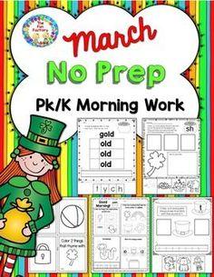 Morning Work PK – K {March}