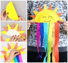 Paper Plate Sun and Rainbow Craft - Easy Peasy and Fun Source by acalderonalv. - Paper Plate Sun and Rainbow Craft – Easy Peasy and Fun Source by acalderonalvitr - Sun Crafts, Fish Crafts, Wreath Crafts, Summer Crafts, Diy Crafts For Kids, Sesame Street Crafts, Couronne Diy, Flamingo Craft, Turtle Crafts