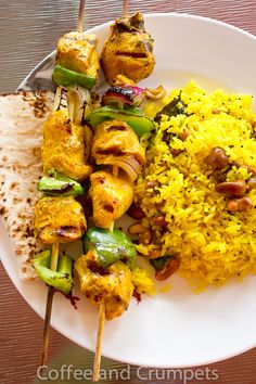 Moist and juicy tandoori chicken kebabs and lemon rice, spiced with warm Indian spices, make for a perfect Father's Day dinner. Dinner Recipes Easy Quick, Vegetarian Recipes Dinner, Tandoori Chicken, Chicken Kebab, Kimchi Recipe, Lemon Rice, Kebabs, Shish Kabobs, Crumpets