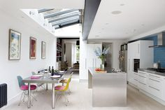 Private House, Kentish Town by south studio Kitchen Lighting Layout, Kitchen Layout, Kitchen Design, Extension Veranda, Side Extension, Extension Ideas, Kitchen Diner Extension, Open Plan Kitchen Dining, London House
