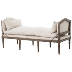 Sabine French Country Natural Linen Weathered Oak Bench Daybed | Kathy Kuo Home
