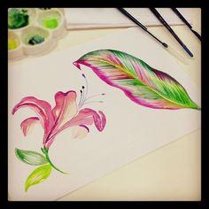 Painting at work by @MarinaBarbato #tropicalprints #floral #porummundomaisestampado #watercolor #aquarela #leaf #folha #painting #pintura