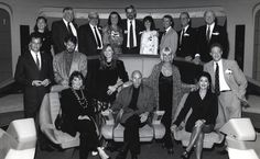 Courtesy of the Roddenberry Estate Star Trek, GEne Roddenberry With The Next Generation crew, circa 1986-89: Front row, left to right, Majel Barrett-Roddenberry, Patrick Stewart, Marina Sirtis; middle row, John de Lancie, Jonathan Frakes, Gates McFadden, Grace Lee Whitney, Brent Spiner; back row: Gene is second from left, NASA astrono