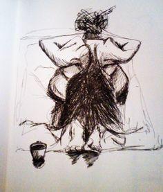 """Dibujo a partir de un sueño. Mundo antigüo que florece ahora. En el """"Work in Progress"""" de """"TARANTISMO, Delirio Femenino en un acto""""."""