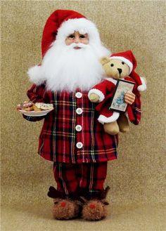 WHERE are all my Santas?   Santa Claus in Pajamas w/ Teddy Bear, cookies &…
