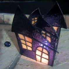 Stained Glass 3D Haunted House Candle Holder by JBsGlassHouse, $175.00