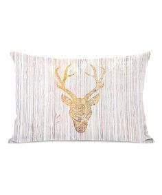 White Fire Reindeer Head Throw Pillow