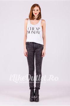 Jeans skinny Mid Spray Ice Stripes Black CHEAP MONDAY