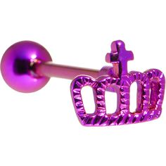Purple Crown Anodized Titanium Barbell | Body Candy Body Jewelry #bodycandy #piercings #tonguering