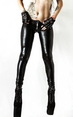 Image of TOXIC VISION EASYWEAR black leatherette cigarette pants ALL SIZES 24