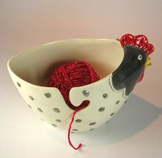 hen planter or yarn bowl by ceramiquecote on Etsy, $42.00