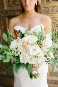 White and Blush Peonies Wedding Bouquet1